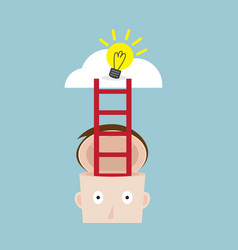 Ladder from human head to bulb idea on cloud vector