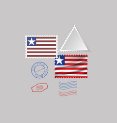 Liberia flag postage stamp set isolated on gray vector