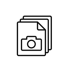 line photo file gallery icon on white background vector image