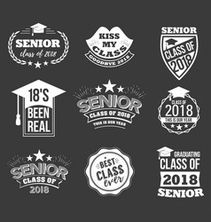 Logo badges and cute funny labels for graduating vector