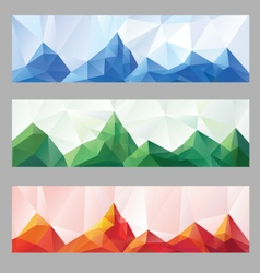 Low poly mountain design set vector