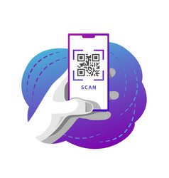 Male hand holds a phone with qr code scan screen vector