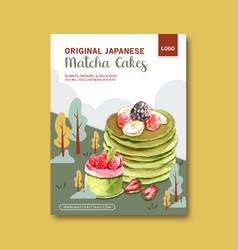 Matcha sweet poster design with pancake vector