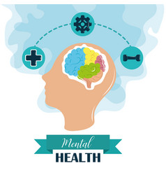 Mental health day human head brain activities vector