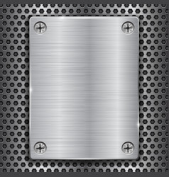 Metal plate with screws on perforated texture vector