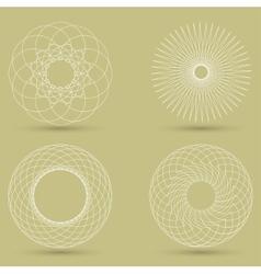Modern white geometric shape guilloche vector