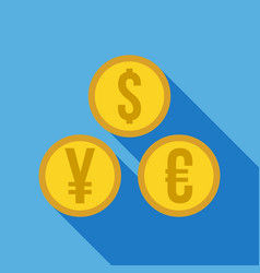 money set - dollar euro yen icon vector image
