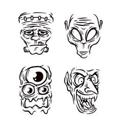 Monster head line vector