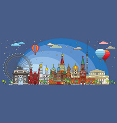 Moscow colorful line art 5 vector