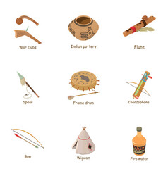 native american icons set cartoon style vector image