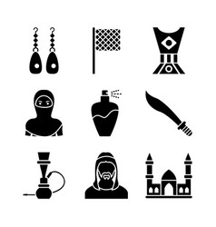 Old traditional heritage in arab glyph icons vector
