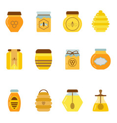organic honey jars and pots set vector image