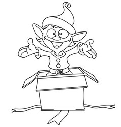 outlined elf jumps from gift box vector image