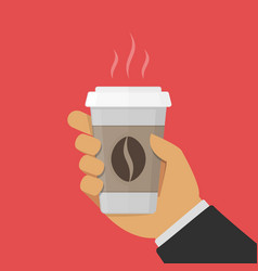 paper cup of coffee in hand vector image