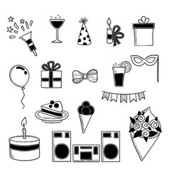 party icons events birthday celebrating symbols vector image