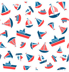 pattern with boat icons vector image