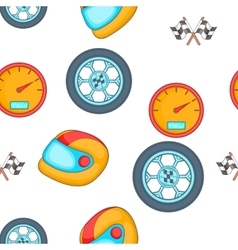 Racing elements pattern cartoon style vector