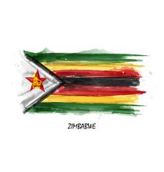 realistic watercolor painting flag of zimbabwe vector image