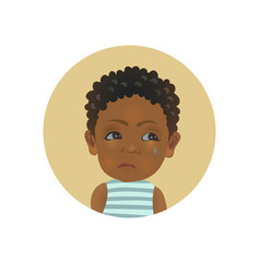Resentful afro american child facial expression vector