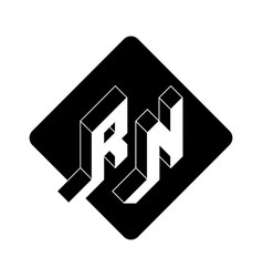 rn - 2-letter code r and n - monogram or logotype vector image