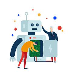 robotics create program and repair robots vector image