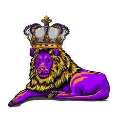 royal lion with crown - animal king head with long vector image