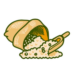 Sack soybean icon hand drawn style vector