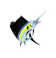 Sailfish Fish Jumping Retro vector