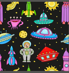 Seamless pattern with space objects - ufo rockets vector