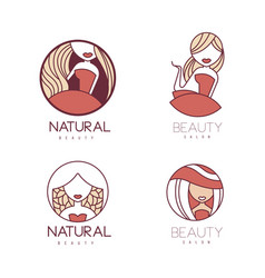set of linear emblems for beauty center or vector image