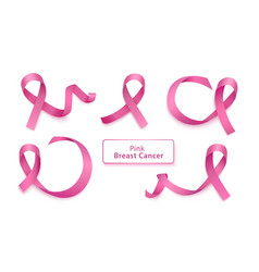 set pink curly ribbons and loops realistic vector image