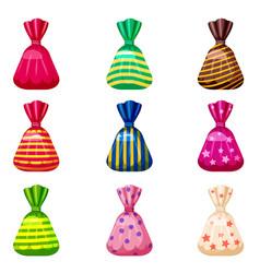 Set single cartoon candies candy vector