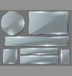 set transparent glass plates or banners vector image