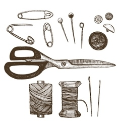 Sewing Set Hand Draw Sketch vector image