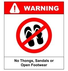 Sign no sandals No slipper red prohibition plane vector