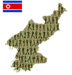 Soldiers over north korea map silhouette vector