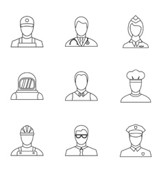 Specialty icons set outline style vector