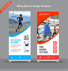standard blue and red rollup banner vector image