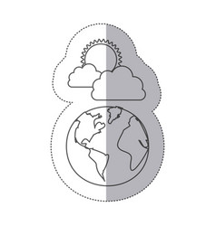 Sticker silhouette earth world cloud with rain and vector