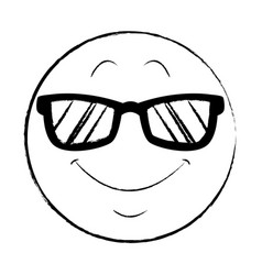 sunglasses chat emoticon sketch vector image