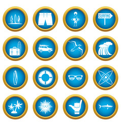 surfing icons blue circle set vector image