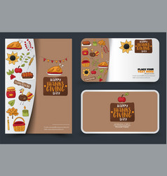 thanksgiving flyer and banner or business card vector image
