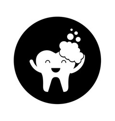 Tooth with toothpaste character icon vector