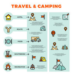 travel and camping colorful infographic with line vector image