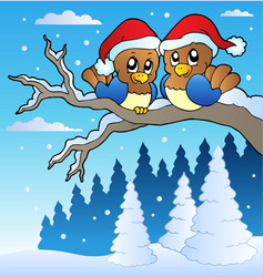 two cute birds with christmas hats vector image