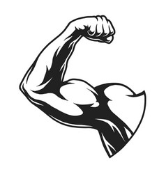 Vintage bodybuilder flex arm template vector