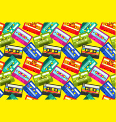vintage cassettes pattern pop music retro 1980s vector image