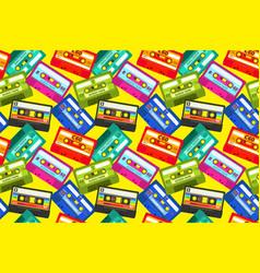 Vintage cassettes pattern pop music retro 1980s vector