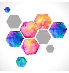 Watercolor bright hexagon over white vector image