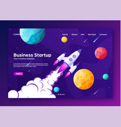 website landing home page with rocket business vector image